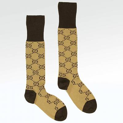 Носки Gucci GG Pattern Gold Brown Socks