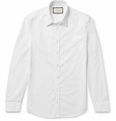 GUCCI White Slim-Fit Cotton Shirt