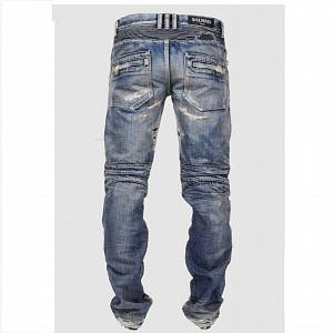 BALMAIN DESTROYED BIKER DENIM JEANS