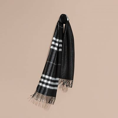 Burberry Reversible Check Colour Scarf Metallic