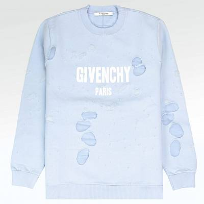 Толстовка Givenchy Paris Distressed Logo Baby Blue Sweatshirt