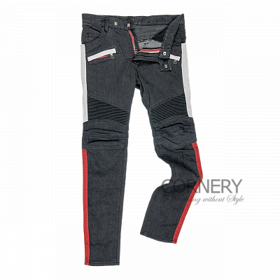 Balmain Biker Jeans Black Red