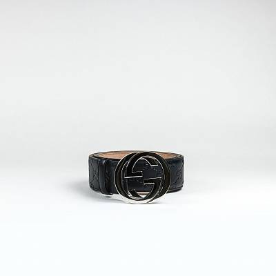 Ремень Gucci GG Interlocked Black Belt