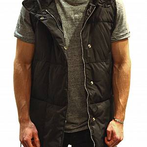 Black Long Down Vest