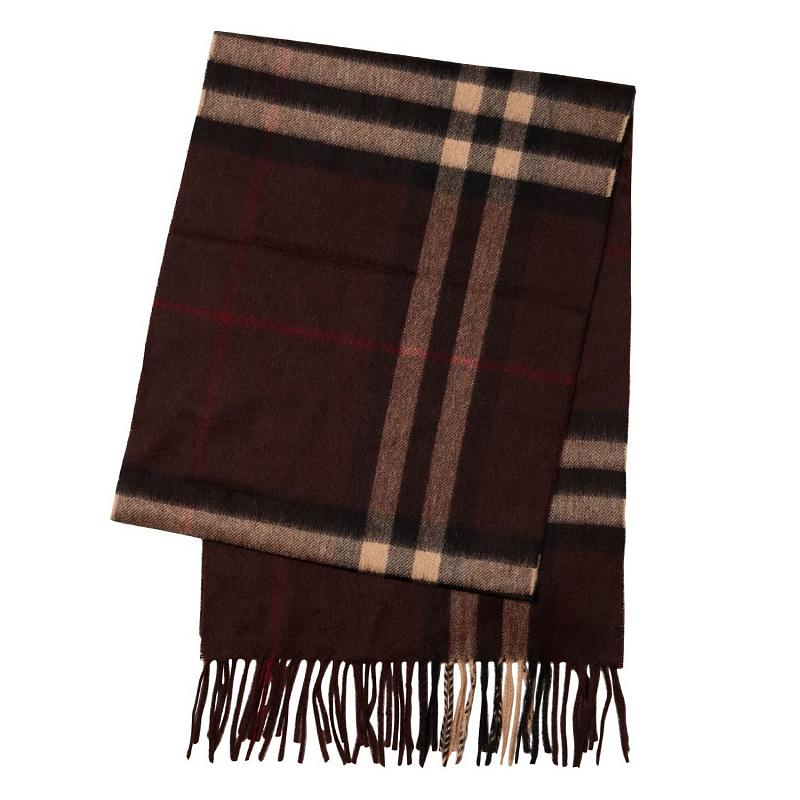 Burberry Classic Cashmere Scarf in Check Brown