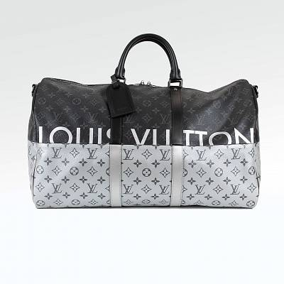 Сумка Louis Vuitton Eclipse Silver Split Monogram Keepall 50