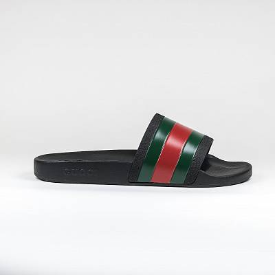 Шлепки Gucci Web Pursuit Pool Slides Black/red/green