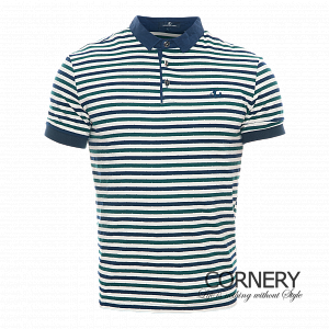 Angelo Galasso Striped Blue Polo