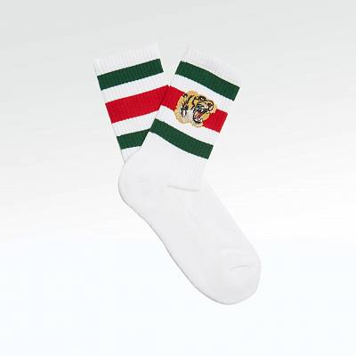 Носки Gucci Tiger Embroidered Cotton Blend Socks